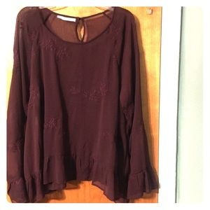 EUC Maurice's burgundy sheer embroidered blouse